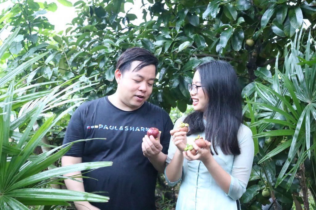 Quang Lê thăm gia đình cô Bảy Thảo, hái măng cụt tận vườn, Chợ Lách- Du lịch C2T