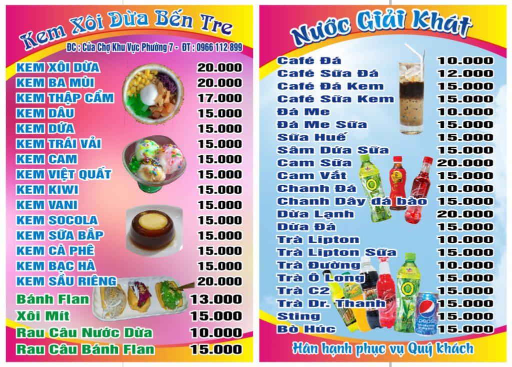 Thực đơn quán kem xôi dừa rất đa dạng - Du lịch C2T - ăn vặt Bến Tre