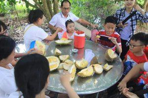 Gia đình dùng sầu riêng tại vườn nhà Bảy Thảo - Du lịch C2T