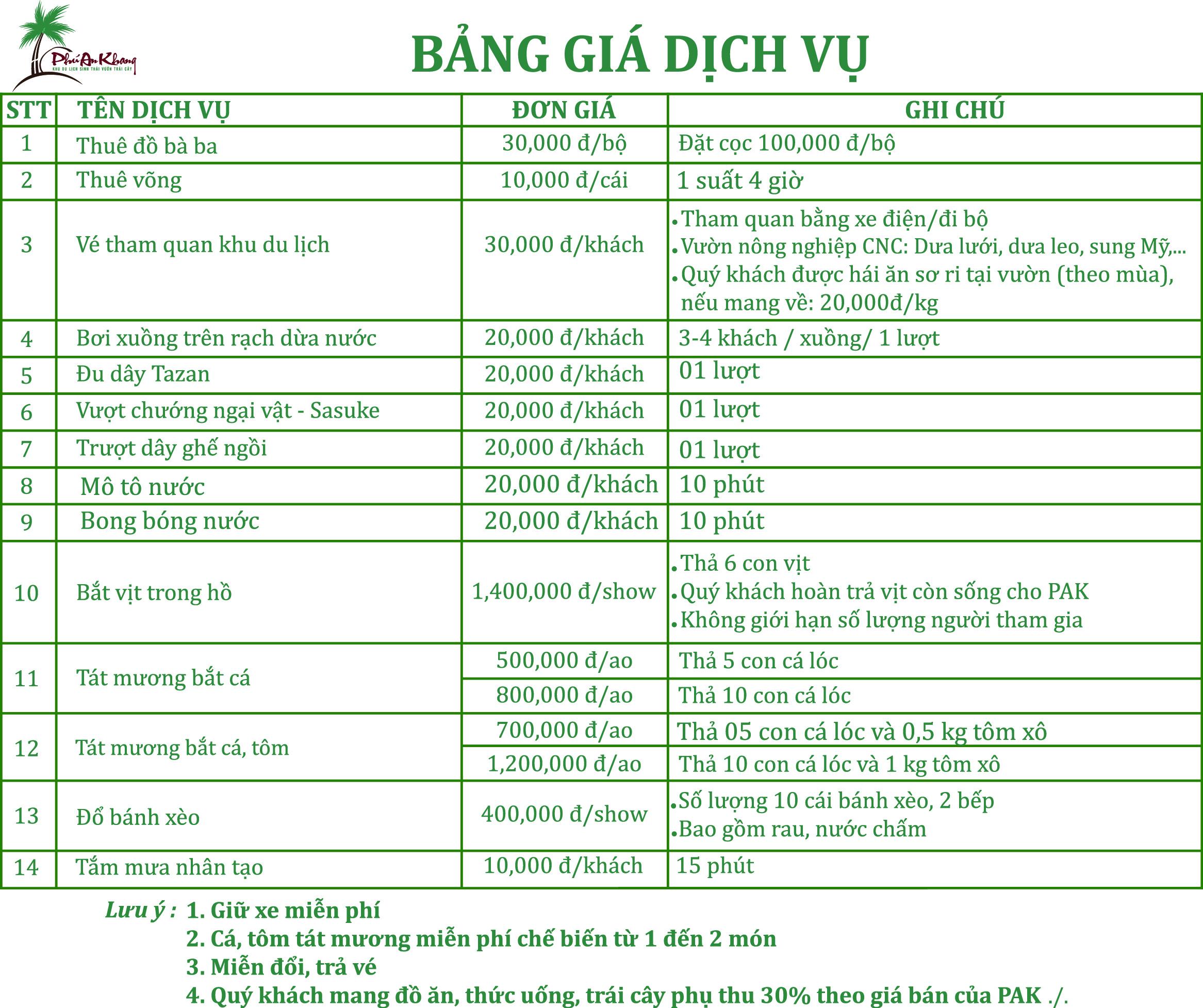 bảng giá dịch vụ khu du lịch Phú An Khang