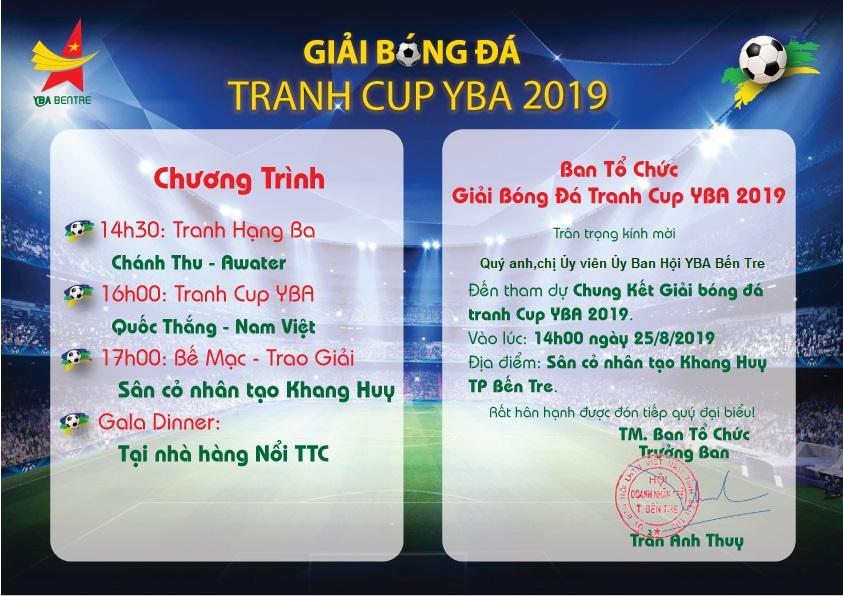 Thông tin chung kết giải bóng đá tranh cúp YBA 2019 - du lịch C2T Bến Tre