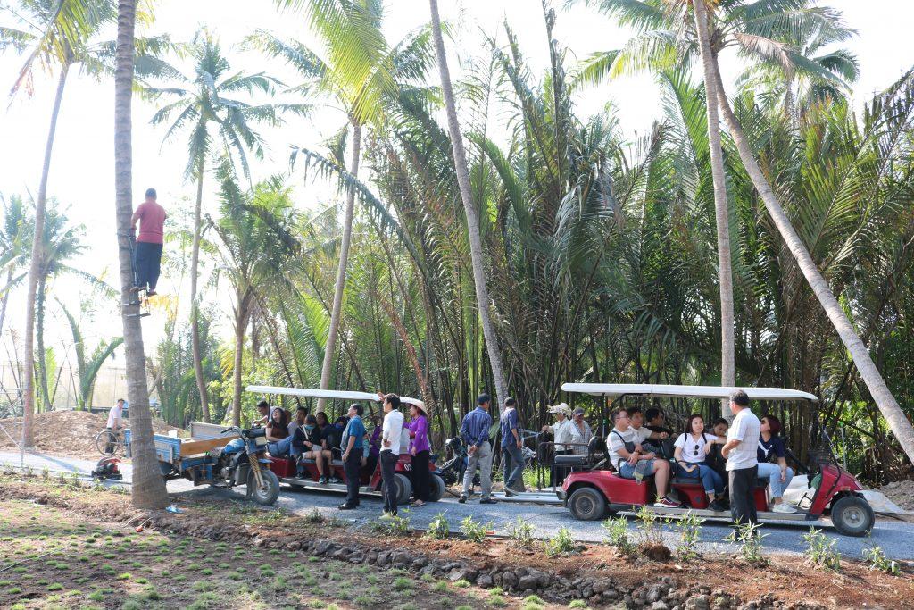 Đoàn đi xe điện tham quan nông nghiệp CN cao ở KDL Phú An Khang